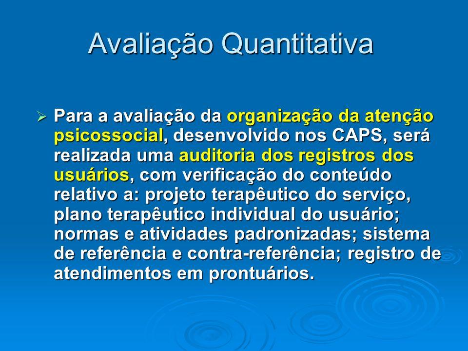Avaliação Quantitativa Para a avaliação da organização da atenção psicossocial, desenvolvido nos CAPS, será realizada uma auditoria dos registros dos