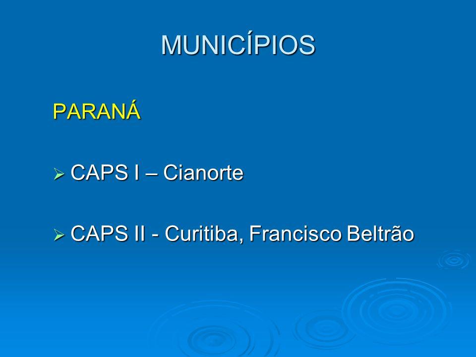 MUNICÍPIOS PARANÁ CAPS I – Cianorte CAPS I – Cianorte CAPS II - Curitiba, Francisco Beltrão CAPS II - Curitiba, Francisco Beltrão