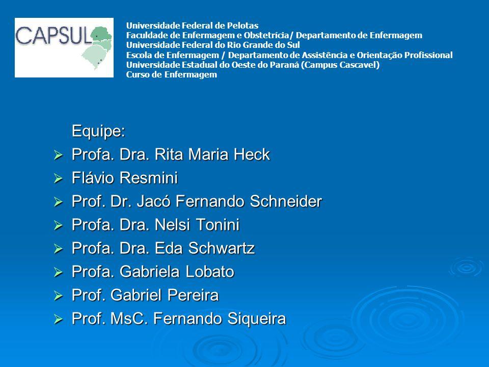 Equipe: Profa. Dra. Rita Maria Heck Profa. Dra. Rita Maria Heck Flávio Resmini Flávio Resmini Prof. Dr. Jacó Fernando Schneider Prof. Dr. Jacó Fernand