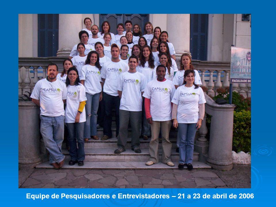 Equipe de Pesquisadores e Entrevistadores – 21 a 23 de abril de 2006