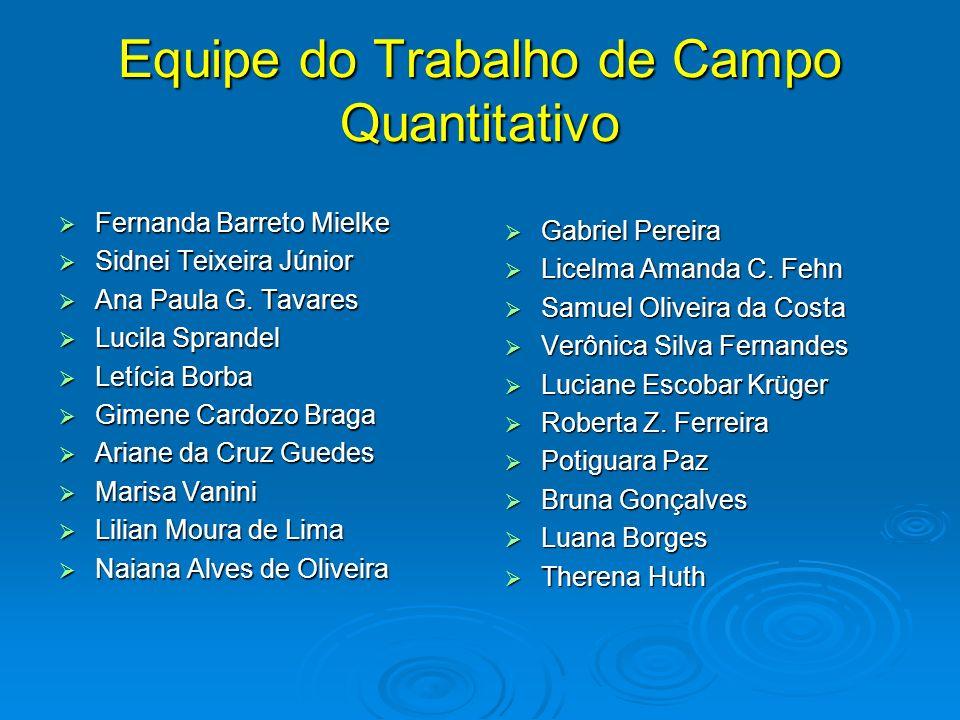 Equipe do Trabalho de Campo Quantitativo Fernanda Barreto Mielke Fernanda Barreto Mielke Sidnei Teixeira Júnior Sidnei Teixeira Júnior Ana Paula G. Ta