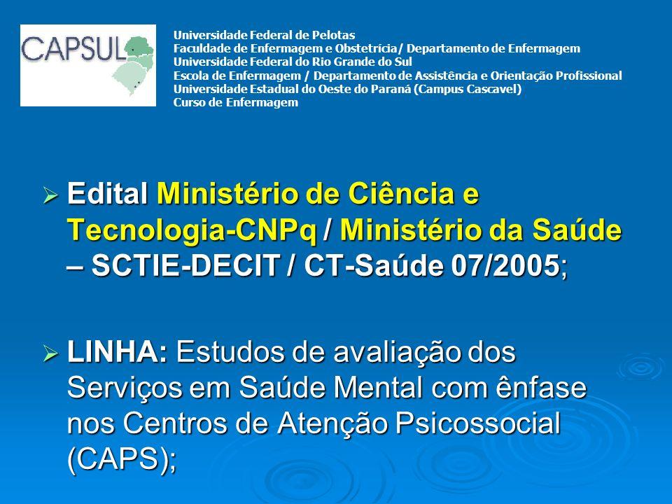 Edital Ministério de Ciência e Tecnologia-CNPq / Ministério da Saúde – SCTIE-DECIT / CT-Saúde 07/2005; Edital Ministério de Ciência e Tecnologia-CNPq