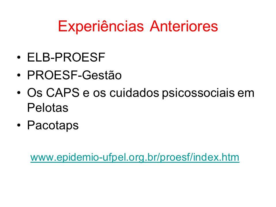 Experiências Anteriores ELB-PROESF PROESF-Gestão Os CAPS e os cuidados psicossociais em Pelotas Pacotaps www.epidemio-ufpel.org.br/proesf/index.htm