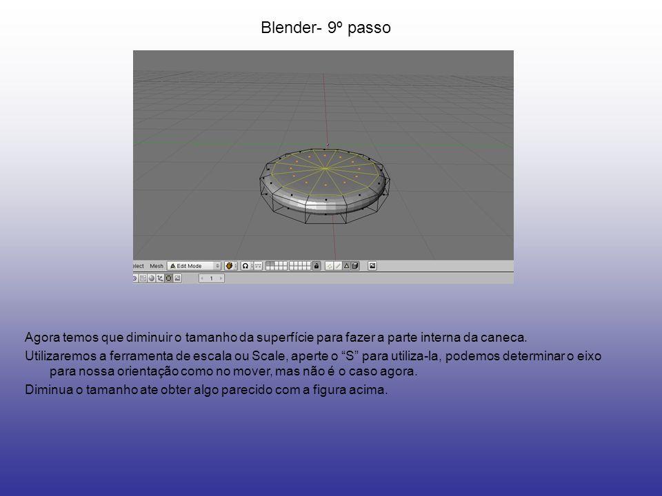 Blender- 9º passo Agora temos que diminuir o tamanho da superfície para fazer a parte interna da caneca. Utilizaremos a ferramenta de escala ou Scale,