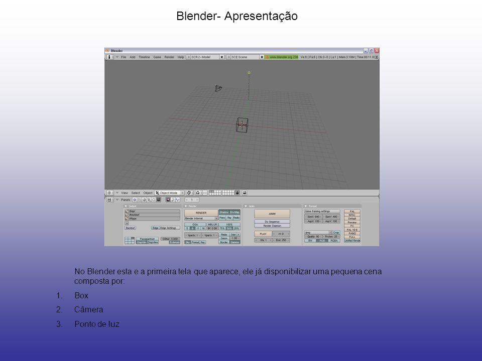 Blender- Apresentação No Blender esta e a primeira tela que aparece, ele já disponibilizar uma pequena cena composta por: 1.Box 2.Câmera 3.Ponto de lu