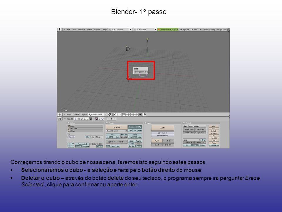Blender- 2º passo Acesse a vista Top para criar o cilindro: Vista de Topo ou Top- aperte no teclado numérico o 7 ativa no painel principal a vista de topo; Criar o cilindro- aperte a tecla de espaço do teclado para acessar o menu principal,vá em Add / Mesh / Cylinder.