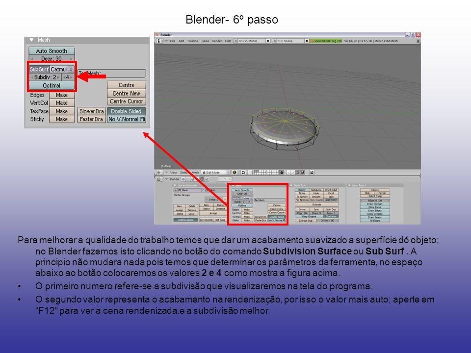 Blender- 6º passo Para melhorar a qualidade do trabalho temos que dar um acabamento suavizado a superfície dó objeto; no Blender fazemos isto clicando