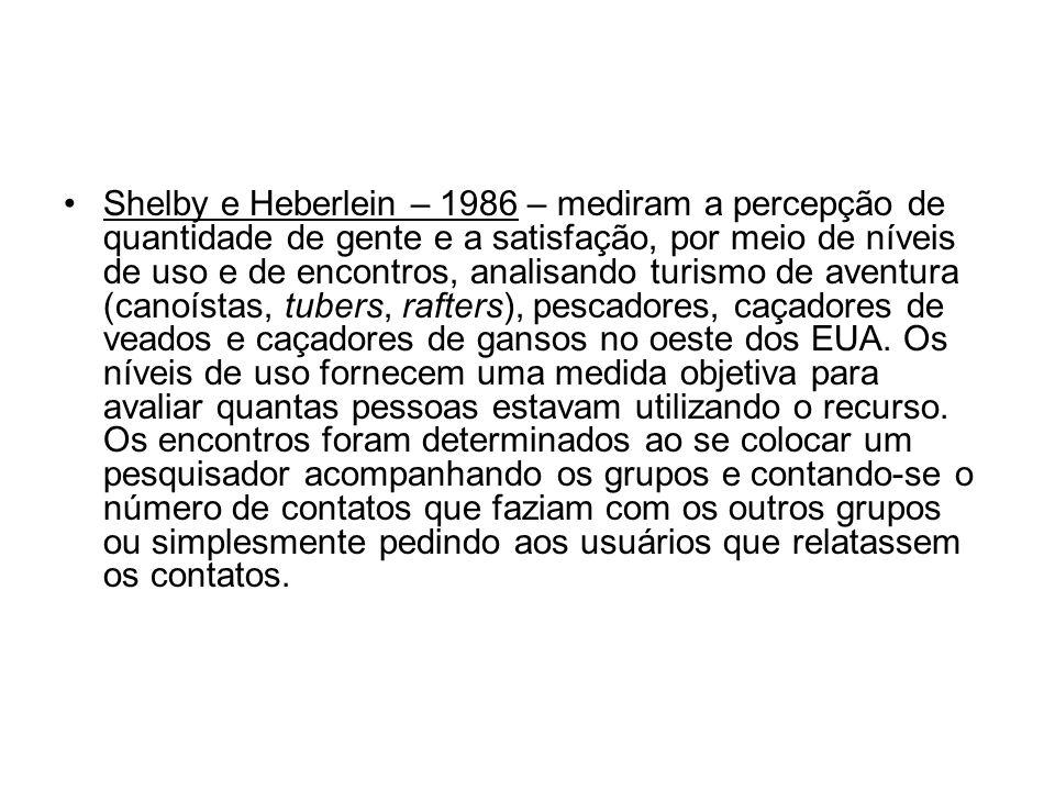 Shelby e Heberlein – 1986 – mediram a percepção de quantidade de gente e a satisfação, por meio de níveis de uso e de encontros, analisando turismo de