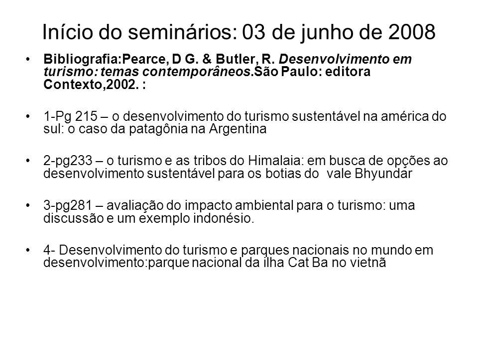 Início do seminários: 03 de junho de 2008 Bibliografia:Pearce, D G. & Butler, R. Desenvolvimento em turismo: temas contemporâneos.São Paulo: editora C