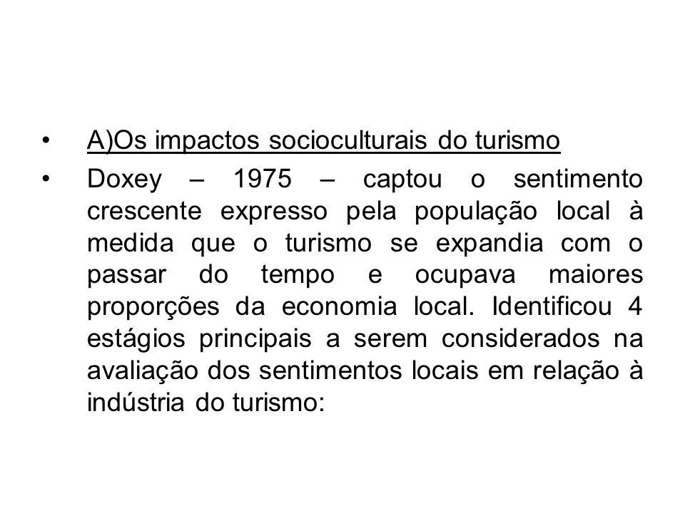 A)Os impactos socioculturais do turismo Doxey – 1975 – captou o sentimento crescente expresso pela população local à medida que o turismo se expandia