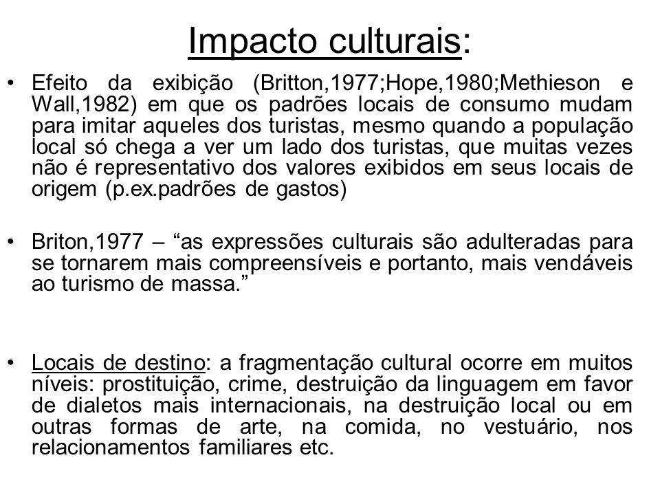Impacto culturais: Efeito da exibição (Britton,1977;Hope,1980;Methieson e Wall,1982) em que os padrões locais de consumo mudam para imitar aqueles dos