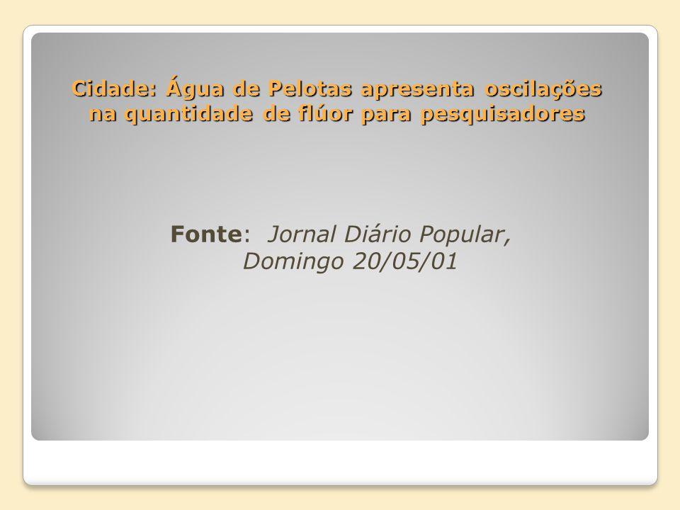 Cidade: Água de Pelotas apresenta oscilações na quantidade de flúor para pesquisadores Fonte: Jornal Diário Popular, Domingo 20/05/01