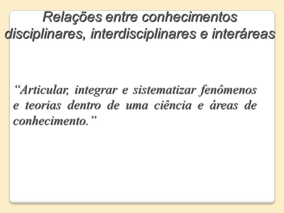Relações entre conhecimentos disciplinares, interdisciplinares e interáreas Articular, integrar e sistematizar fenômenos e teorias dentro de uma ciênc