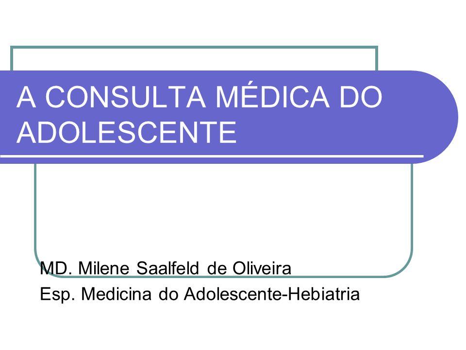 A CONSULTA MÉDICA DO ADOLESCENTE MD. Milene Saalfeld de Oliveira Esp. Medicina do Adolescente-Hebiatria