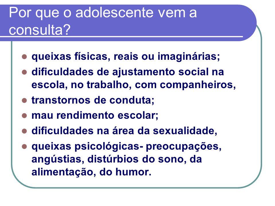 Por que o adolescente vem a consulta? queixas físicas, reais ou imaginárias; dificuldades de ajustamento social na escola, no trabalho, com companheir