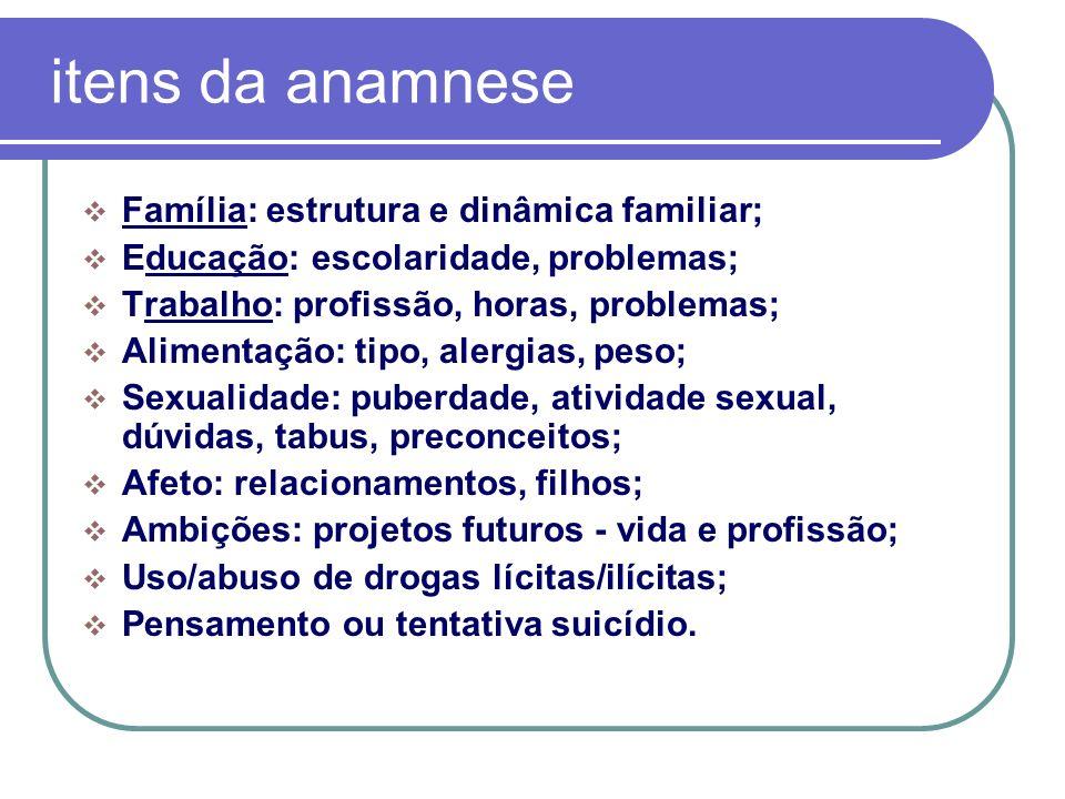 itens da anamnese Família: estrutura e dinâmica familiar; Educação: escolaridade, problemas; Trabalho: profissão, horas, problemas; Alimentação: tipo,