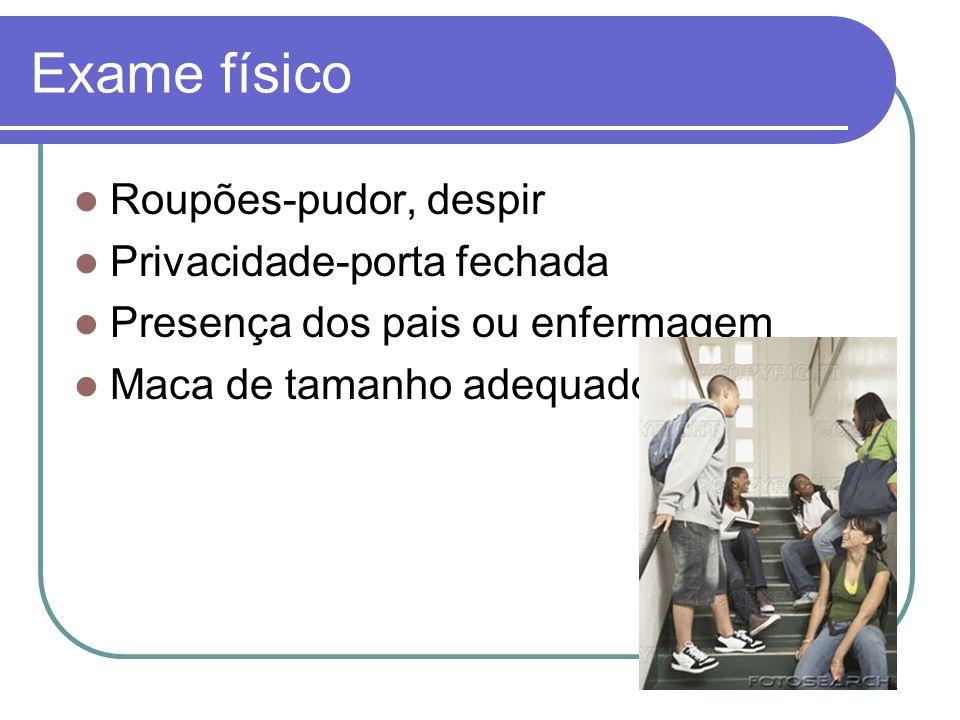 Exame físico Roupões-pudor, despir Privacidade-porta fechada Presença dos pais ou enfermagem Maca de tamanho adequado