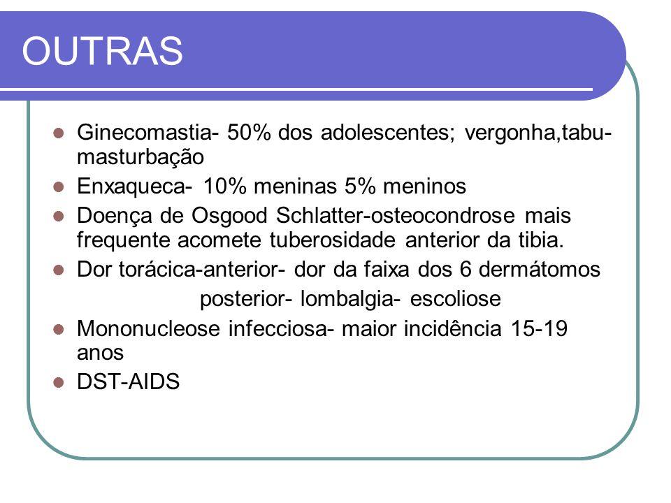 OUTRAS Ginecomastia- 50% dos adolescentes; vergonha,tabu- masturbação Enxaqueca- 10% meninas 5% meninos Doença de Osgood Schlatter-osteocondrose mais