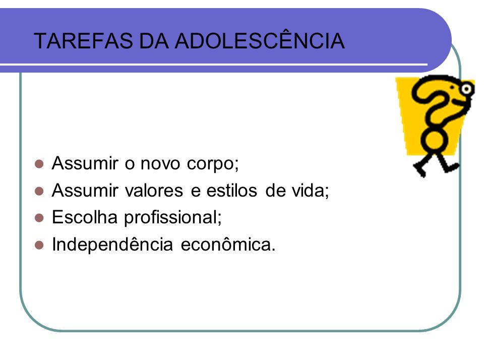 TAREFAS DA ADOLESCÊNCIA Assumir o novo corpo; Assumir valores e estilos de vida; Escolha profissional; Independência econômica.