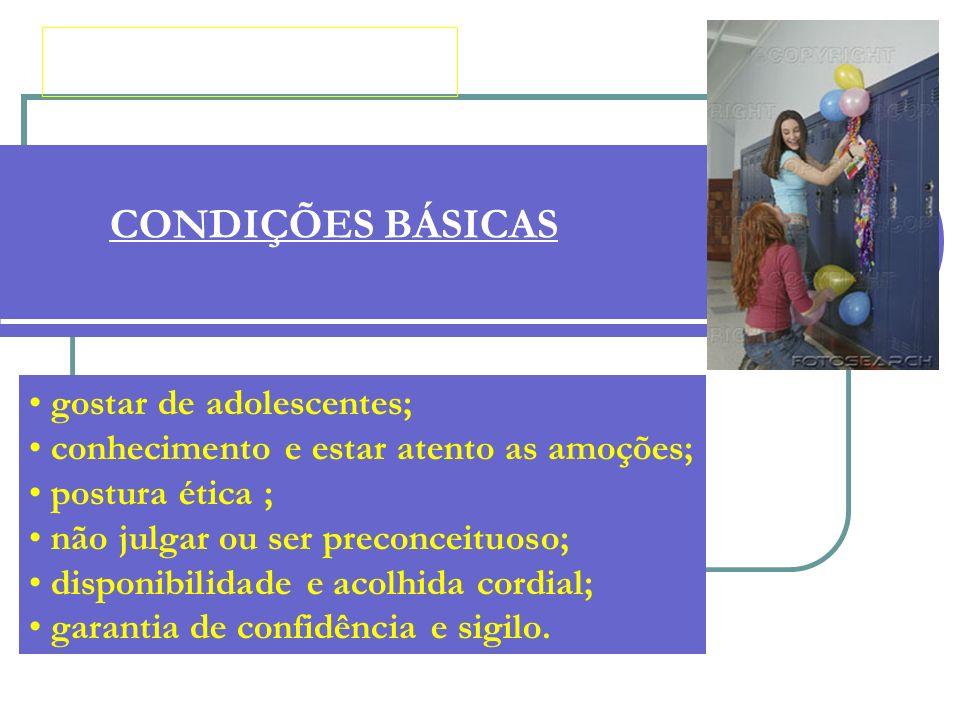 CONDIÇÕES BÁSICAS gostar de adolescentes; conhecimento e estar atento as amoções; postura ética ; não julgar ou ser preconceituoso; disponibilidade e