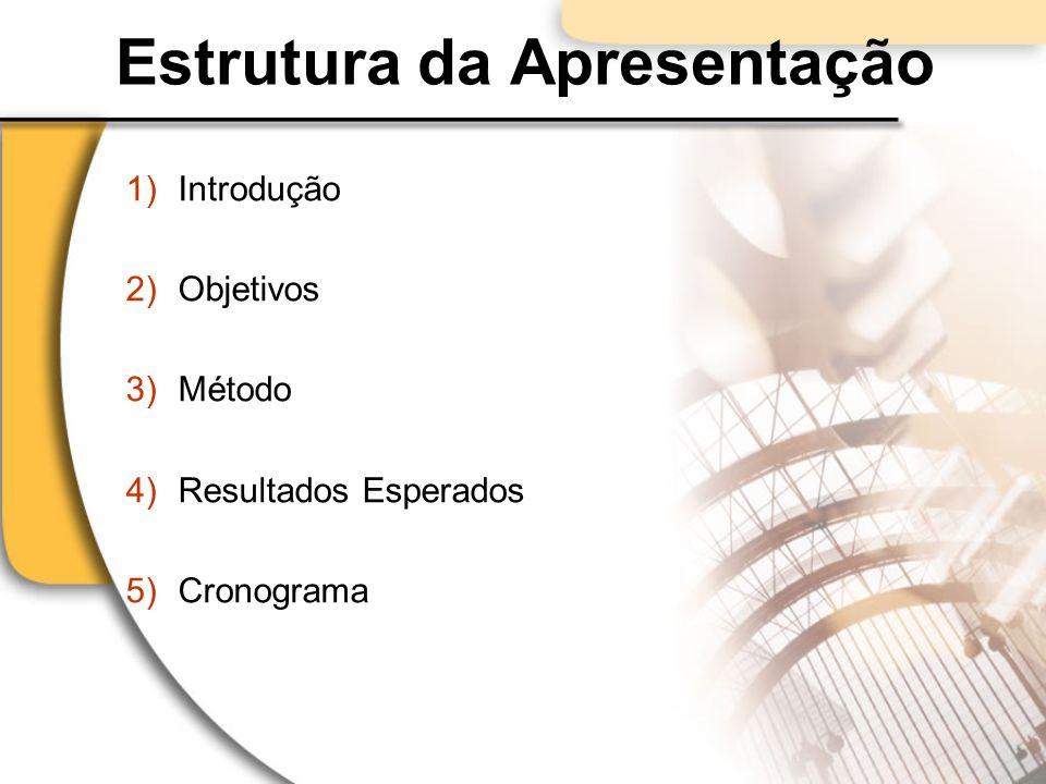 Estrutura da Apresentação 1)Introdução 2)Objetivos 3)Método 4)Resultados Esperados 5)Cronograma