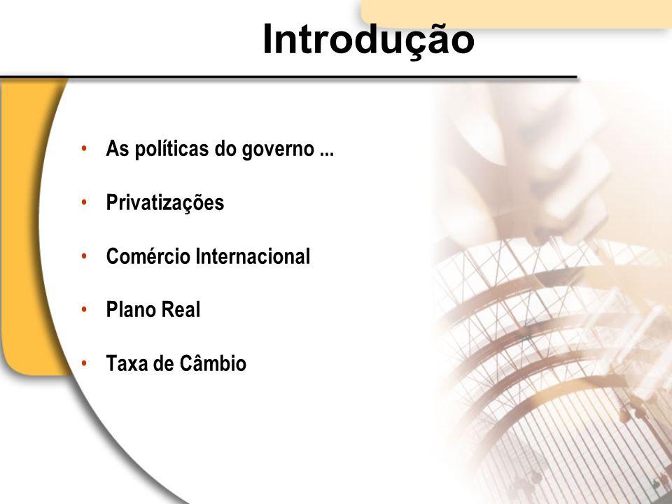Introdução As políticas do governo... Privatizações Comércio Internacional Plano Real Taxa de Câmbio
