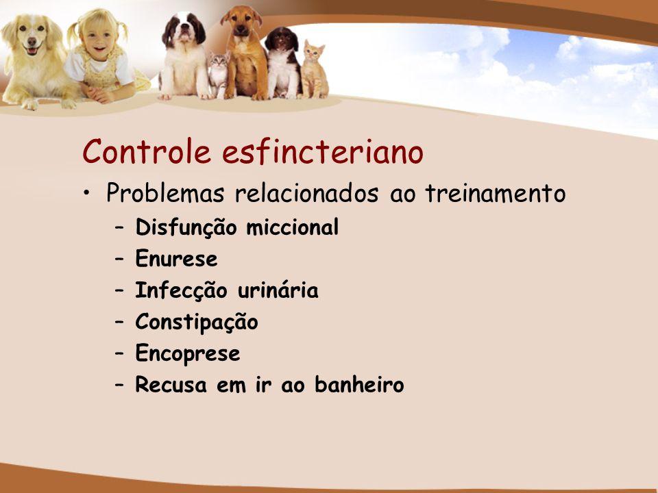 Controle esfincteriano Problemas relacionados ao treinamento –Disfunção miccional –Enurese –Infecção urinária –Constipação –Encoprese –Recusa em ir ao