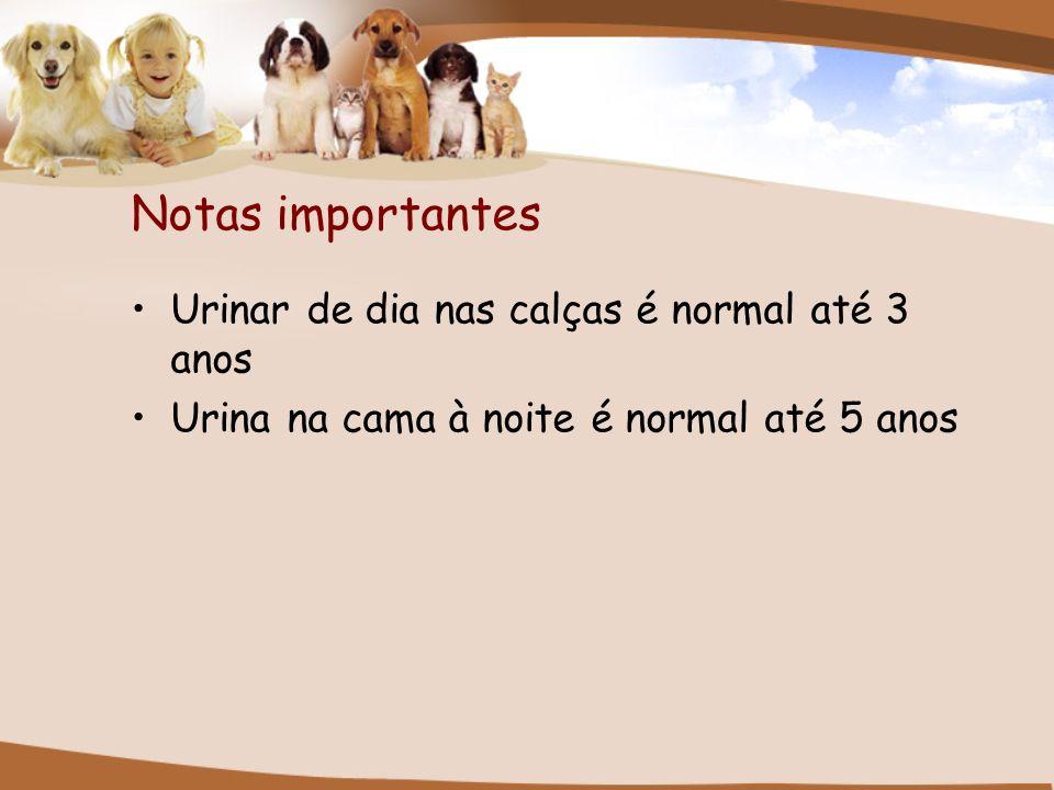 Notas importantes Urinar de dia nas calças é normal até 3 anos Urina na cama à noite é normal até 5 anos