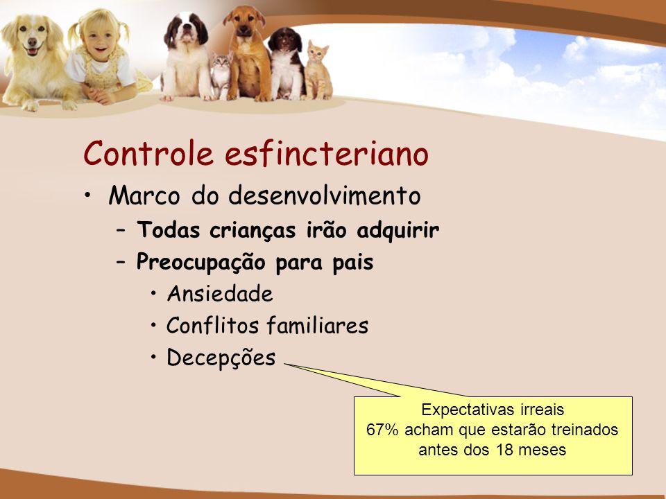 Controle esfincteriano Marco do desenvolvimento –Todas crianças irão adquirir –Preocupação para pais Ansiedade Conflitos familiares Decepções Expectat