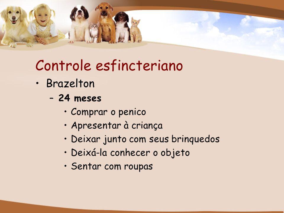 Controle esfincteriano Brazelton –24 meses Comprar o penico Apresentar à criança Deixar junto com seus brinquedos Deixá-la conhecer o objeto Sentar co