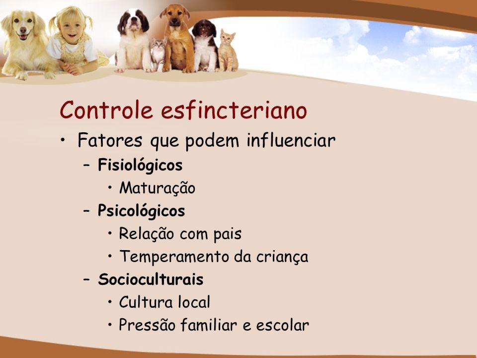Controle esfincteriano Fatores que podem influenciar –Fisiológicos Maturação –Psicológicos Relação com pais Temperamento da criança –Socioculturais Cu