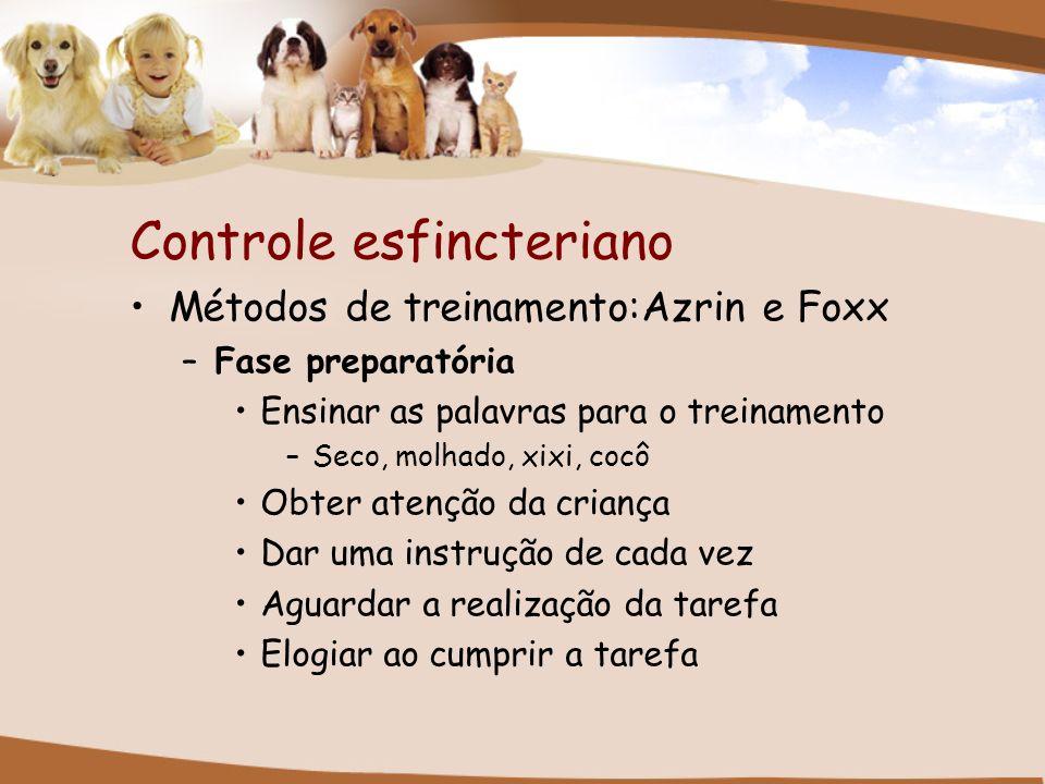 Controle esfincteriano Métodos de treinamento:Azrin e Foxx –Fase preparatória Ensinar as palavras para o treinamento –Seco, molhado, xixi, cocô Obter