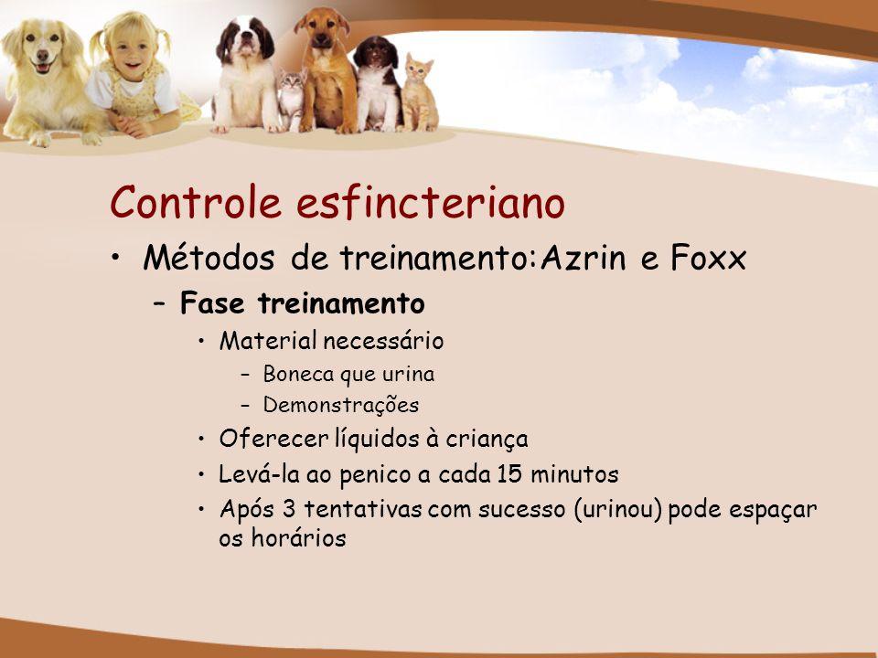 Controle esfincteriano Métodos de treinamento:Azrin e Foxx –Fase treinamento Material necessário –Boneca que urina –Demonstrações Oferecer líquidos à