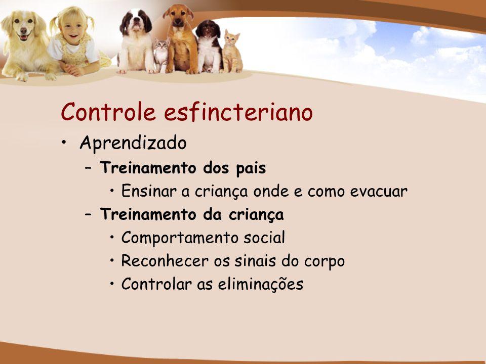 Controle esfincteriano Aprendizado –Treinamento dos pais Ensinar a criança onde e como evacuar –Treinamento da criança Comportamento social Reconhecer