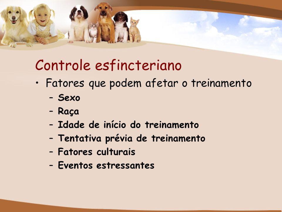 Controle esfincteriano Fatores que podem afetar o treinamento –Sexo –Raça –Idade de início do treinamento –Tentativa prévia de treinamento –Fatores cu