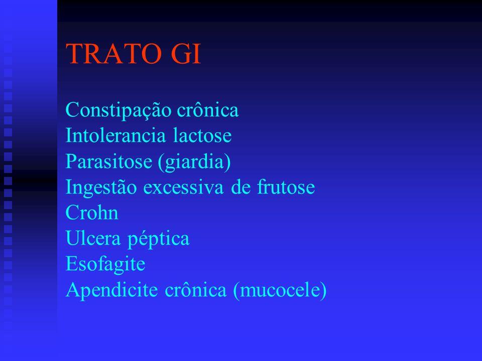 TRATO GI Constipação crônica Intolerancia lactose Parasitose (giardia) Ingestão excessiva de frutose Crohn Ulcera péptica Esofagite Apendicite crônica