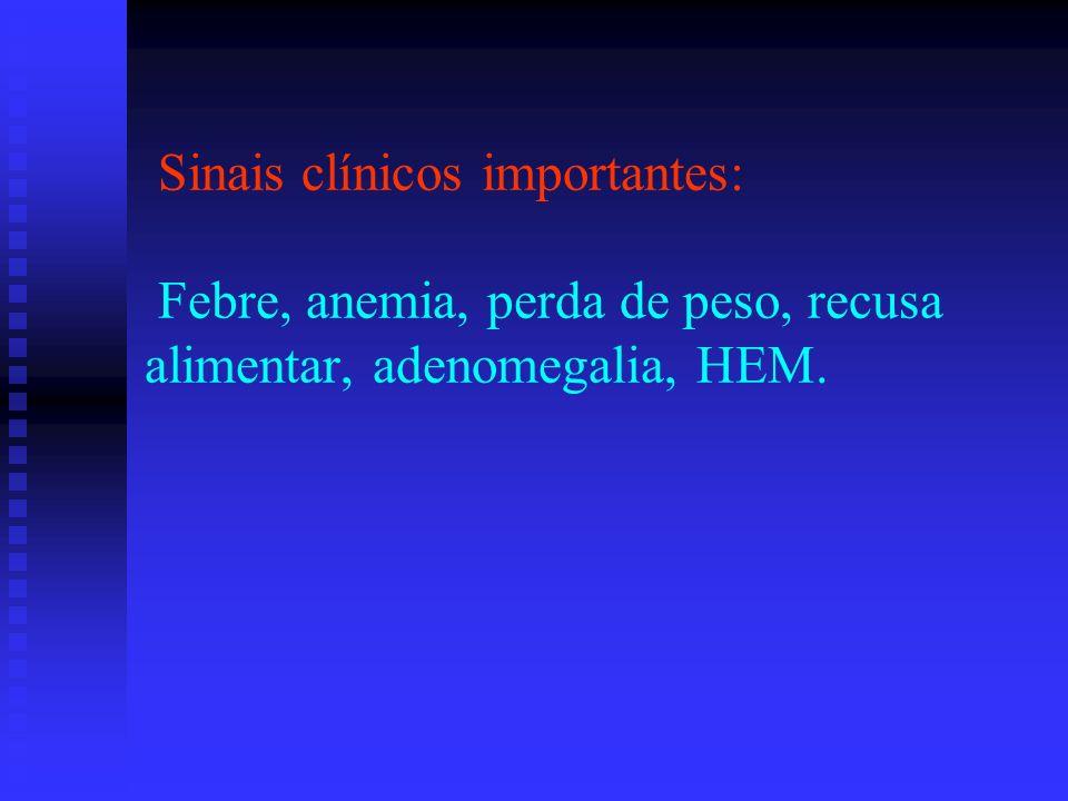Sinais clínicos importantes: Febre, anemia, perda de peso, recusa alimentar, adenomegalia, HEM.