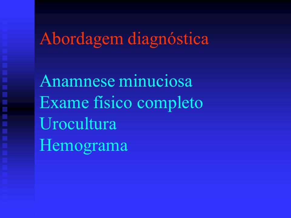 CONDUTA Abordagem diagnóstica Anamnese minuciosa Exame físico completo Urocultura Hemograma