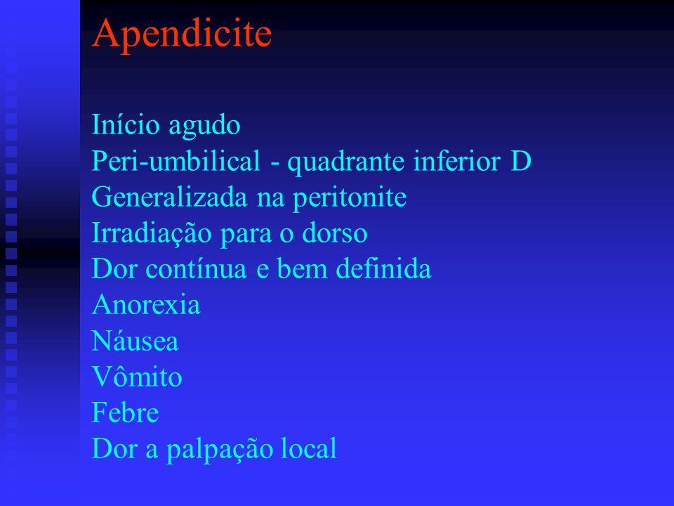 Apendicite Início agudo Peri-umbilical - quadrante inferior D Generalizada na peritonite Irradiação para o dorso Dor contínua e bem definida Anorexia