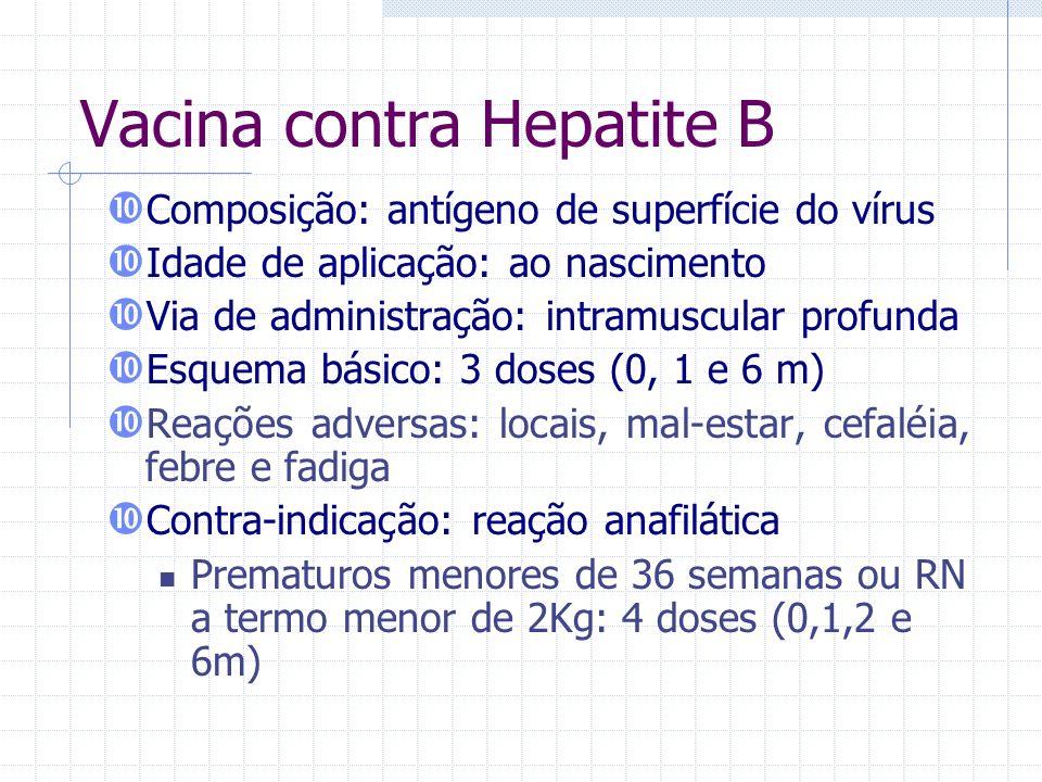 Vacina contra Hepatite B Composição: antígeno de superfície do vírus Idade de aplicação: ao nascimento Via de administração: intramuscular profunda Es