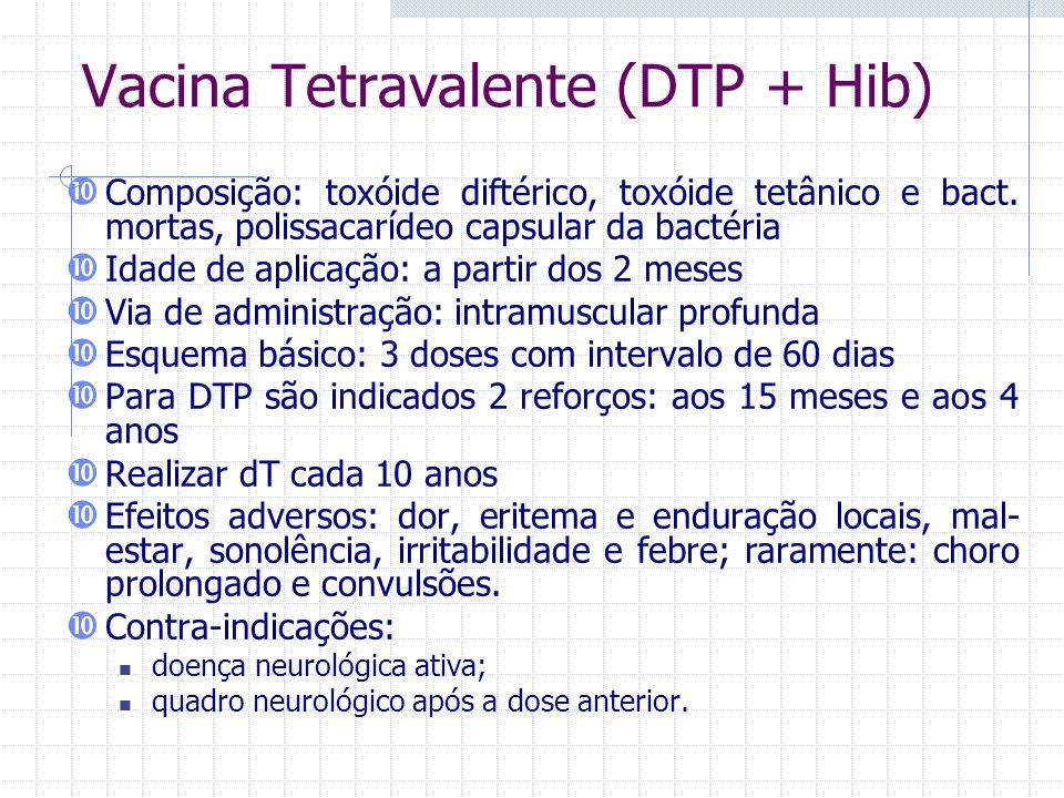 Vacina Tetravalente (DTP + Hib) Composição: toxóide diftérico, toxóide tetânico e bact. mortas, polissacarídeo capsular da bactéria Idade de aplicação