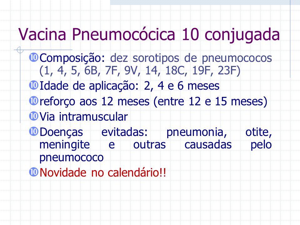 Vacina Pneumocócica 10 conjugada Composição: dez sorotipos de pneumococos (1, 4, 5, 6B, 7F, 9V, 14, 18C, 19F, 23F) Idade de aplicação: 2, 4 e 6 meses