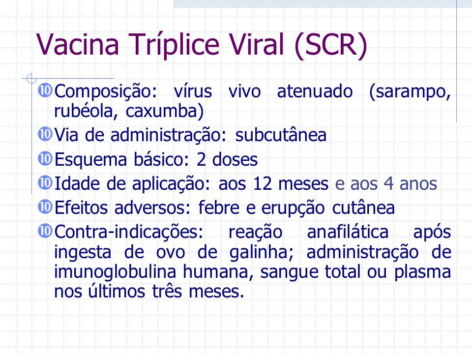 Vacina Tríplice Viral (SCR) Composição: vírus vivo atenuado (sarampo, rubéola, caxumba) Via de administração: subcutânea Esquema básico: 2 doses Idade