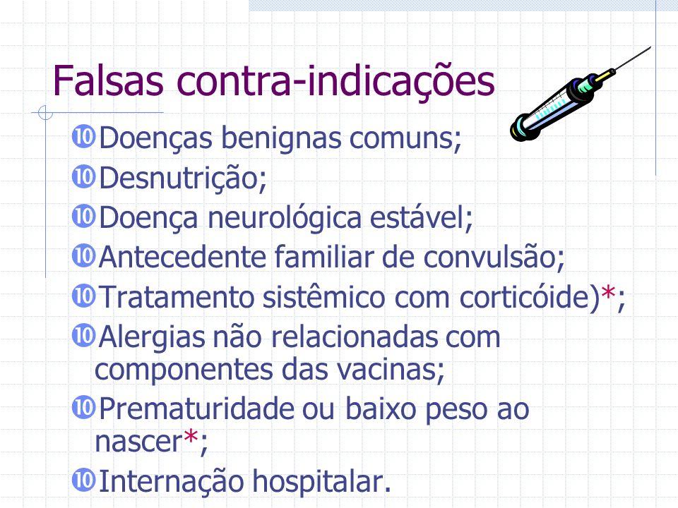 Falsas contra-indicações Doenças benignas comuns; Desnutrição; Doença neurológica estável; Antecedente familiar de convulsão; Tratamento sistêmico com