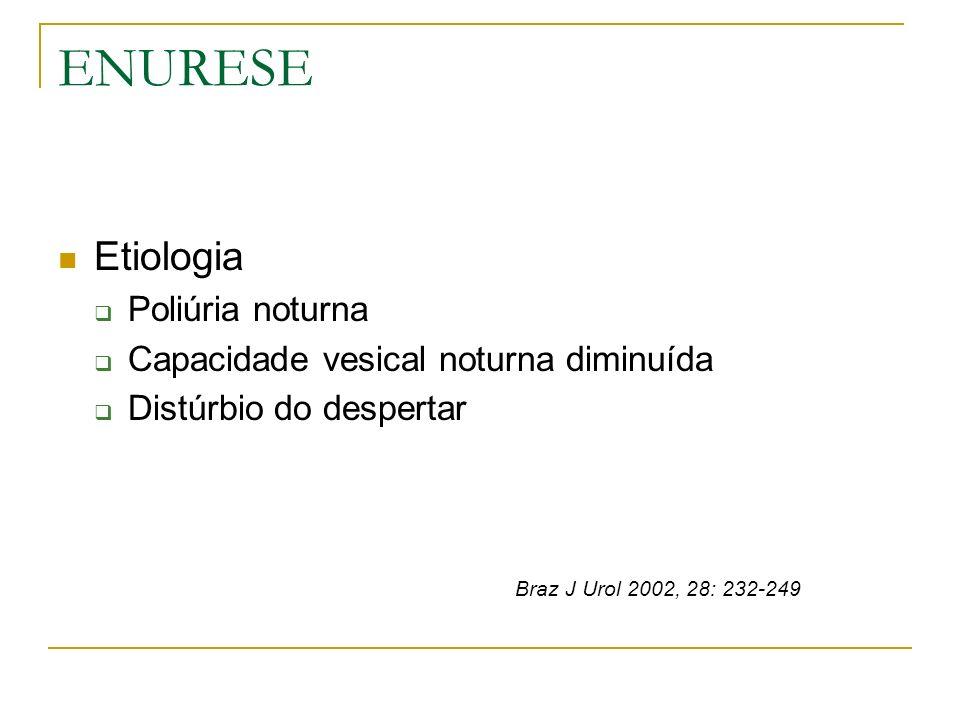 ENURESE Etiologia Poliúria noturna Capacidade vesical noturna diminuída Distúrbio do despertar Braz J Urol 2002, 28: 232-249