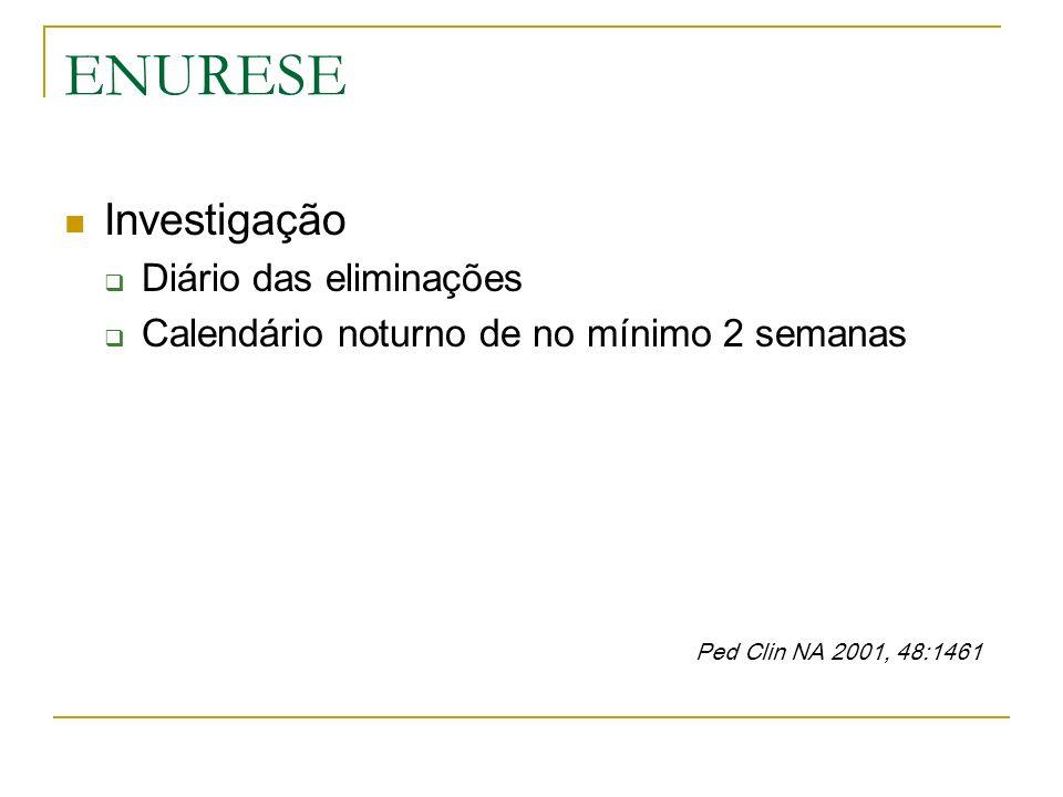 ENURESE Investigação Diário das eliminações Calendário noturno de no mínimo 2 semanas Ped Clin NA 2001, 48:1461