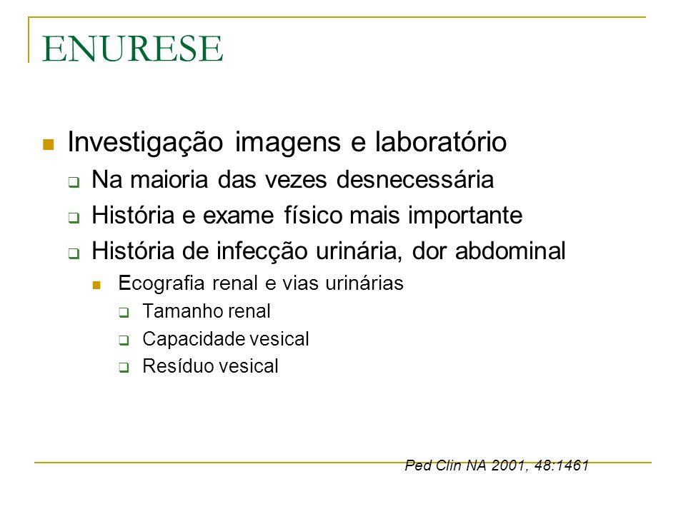 ENURESE Investigação imagens e laboratório Na maioria das vezes desnecessária História e exame físico mais importante História de infecção urinária, d