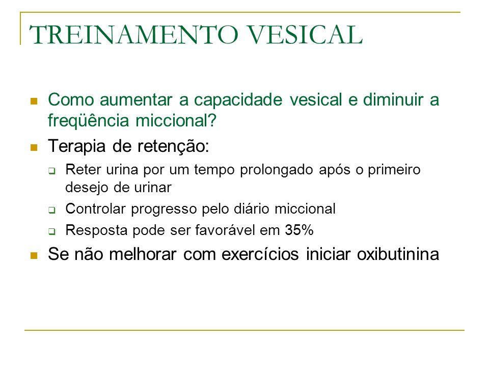 TREINAMENTO VESICAL Como aumentar a capacidade vesical e diminuir a freqüência miccional? Terapia de retenção: Reter urina por um tempo prolongado apó