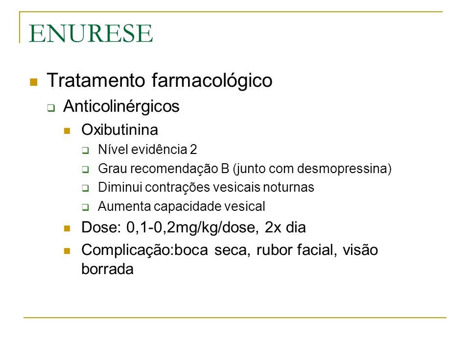 ENURESE Tratamento farmacológico Anticolinérgicos Oxibutinina Nível evidência 2 Grau recomendação B (junto com desmopressina) Diminui contrações vesic