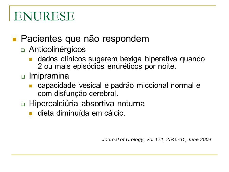 ENURESE Pacientes que não respondem Anticolinérgicos dados clínicos sugerem bexiga hiperativa quando 2 ou mais episódios enuréticos por noite. Imipram